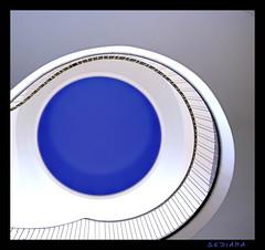 blue moon (sediama (break)) Tags: blue moon white eye architecture stairs germany pentax fake donkey 1954 swing stairway treppe staircase architektur blau dusseldorf dsseldorf sixties 1949 bannister schwung treppenhaus gelnder
