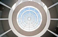 The Eye (Philipp Klinger Photography) Tags: blue roof light shadow sky white black art glass up lines museum architecture munich mnchen bayern bavaria lights nikon pattern shadows angle pov geometry wide symmetry minimal ceiling moderne wa rotunda der philipp sigma1224mm minimalistic pinakothekdermoderne pinakothek uwa klinger rotunde d700 dcdead vanagram