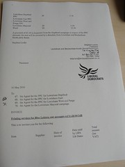 Election expenses from the Tam Langley (Liberal Democrat) campaign in Lewisham Deptford 2010 (RachelH_) Tags: election lewisham deptford democrat liberal langley tam 2010 tamora expenses parliamentary