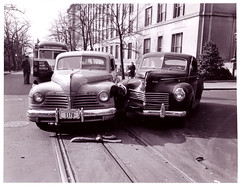 18th & F Streets, NW, (DDOTDC) Tags: cars northwest accident 18thstreet historical streetcar 1945 fstreet