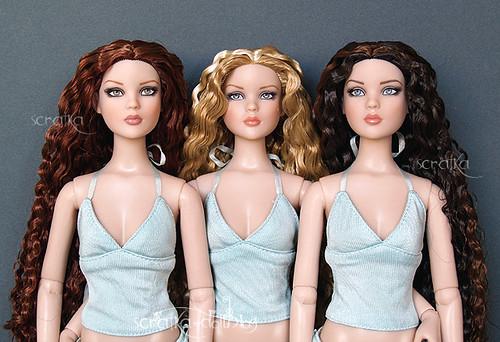 Blonde brunnette redhead