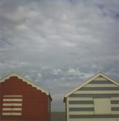 Southwold Beach Huts (jakem) Tags: summer england beach polaroid seaside southwold beachhuts 600film polaroidslr680