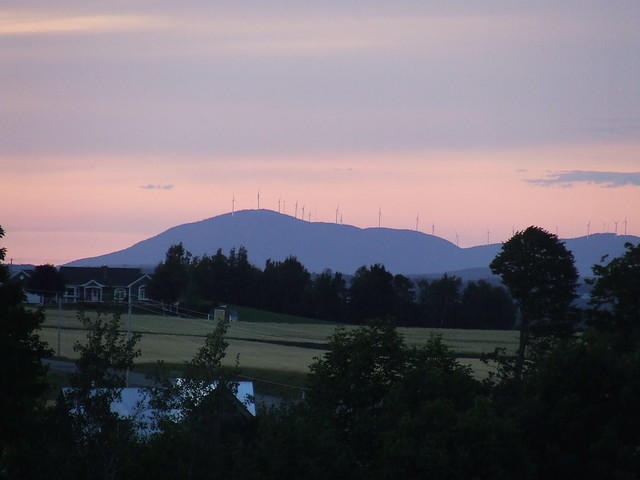 Mars hill maine windmills at sunset