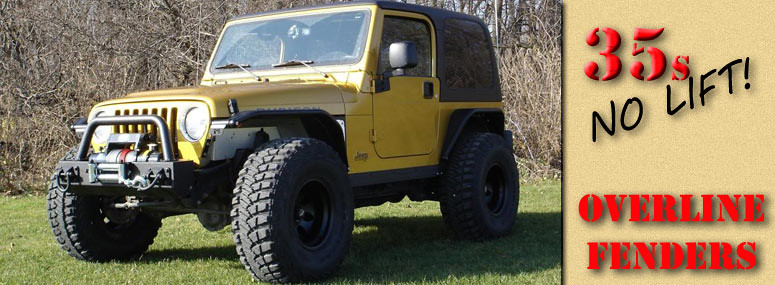 picture of Jeep TJ with 35s and no lift with tube fenders