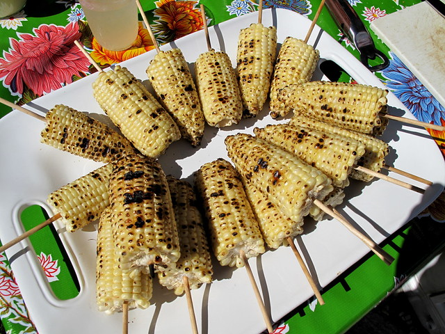 Grilled corn, ready for mayo and cotija cheese!