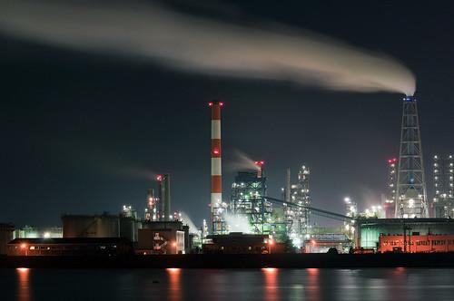 フリー写真素材, 建築・建造物, 工場・産業機械, 夜景, 日本, 山口県,