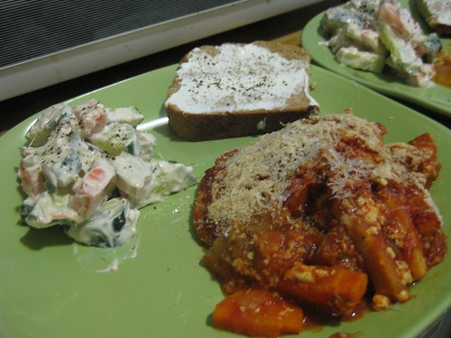 Eggplant gratin, cucumber & carrot salad, Irish soda bread