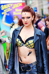 Edinburgh Fringe 2010 (Rich Dyson Photography) Tags: street woman leather edinburgh bra fringe performer saucyjack