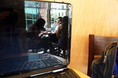 Day 216:    Starbucks (quinn.anya) Tags: reflection laptop internet starbucks backpack wireless day216 freewireless 525600minutes 2010yip