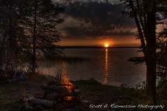 HDR TC fire sunset (Scott A. Rasmusson) Tags: trees light sunset summer camp sun lake reflection minnesota clouds canon rocks shadows outdoor campfire scouts hdr photomatix rasmusson manypoint t1i