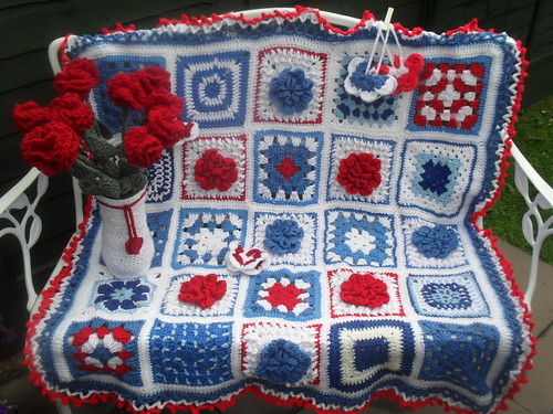 Other Ladies' Squares included in this Blanket from Wanda, Nettie, GrannySquare49, Flower from me (1 short).