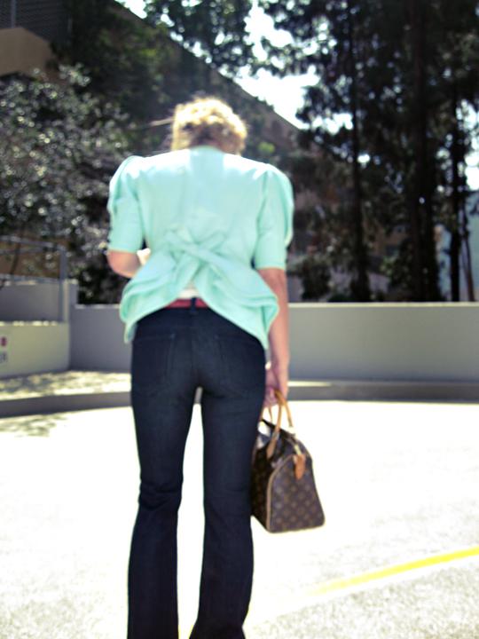 ungaro jacket+bow in the back+peplum jacket+j brand jeans+butt