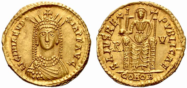 A Rare and Exceptional Roman Gold Solidus of Licinia Eudoxia, Wife of Valentinian III (425-455 C.E.), an Outstanding Facing Radiate Bust