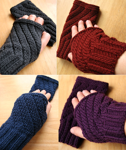 New Knitting Patterns : Darting Diagonals Fingerless Gloves - New Knitting Pattern Released