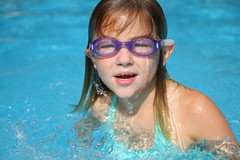 Mergirl (brownscorpios) Tags: blue water pool swimming swim droplets turquoise daughter goggles waterdrops 6yo sooc