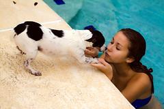 Cowardly Canine (dmunroephoto) Tags: portrait usa dog cute girl canon model florida swimsuit canoneosrebelt1i canonef100mmf28lmacroisusm womanpool