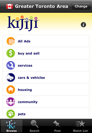 Kijiji iPhone App homescreen