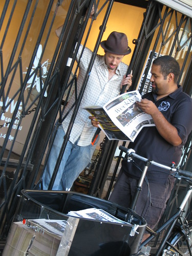 Steve Campos delivering the Blogdowntown Weekly for Flying Pigeon LA.