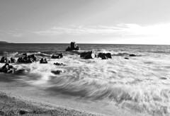 plage de taravo (rhinozaur) Tags: longexposure sea summer sky france beach nature water birds clouds island blackwhite sand rocks waves corsica propriano