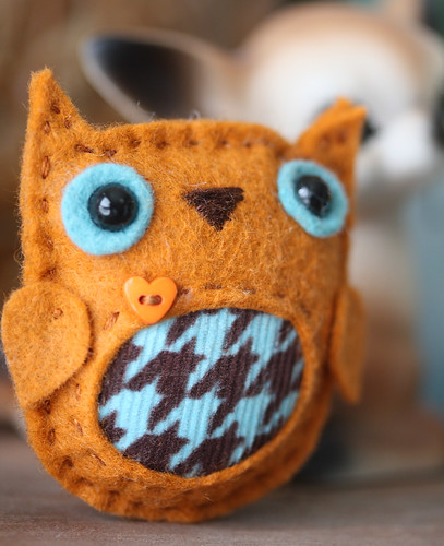 Orange teal owl brooch