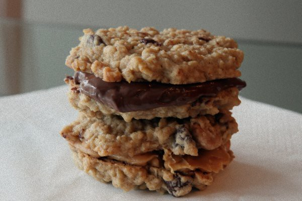 oatmeal chocolate chip and peanut butter chip sandwiches with peanut butter and nutella