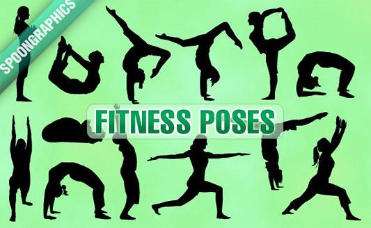 Click en la imagen para descarga 13 Siluetas en formato vector - Poses Fitness