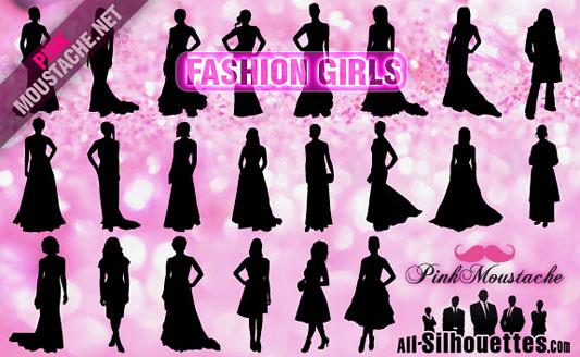 Click en la imagen para descarga 22 Siluetas en formato vector - Mujeres Elegantes