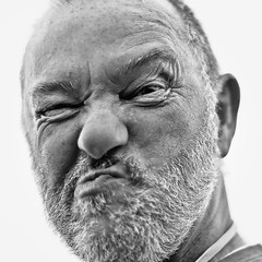 Dave... (On the mountain at dawn) Tags: portrait blackandwhite bw white mountain black silly monochrome face festival square fun 50mm dawn nikon f14 gurning lightroom d3000