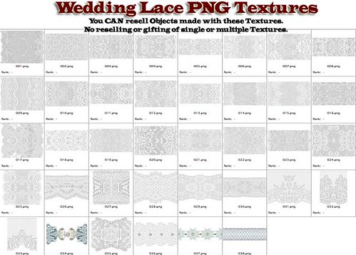 Shabby Chic Wedding Lace PNG Textures