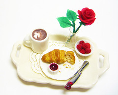 Breakfast in Bed (Bliss Miniatures) Tags: food rose breakfast ceramic miniature mini clay raspberry croissant tray dollhouse polymer oneinchscale
