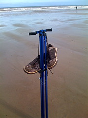 shoes on Hornsea beach