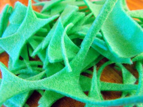 Green felt scraps