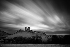 Corfe Castle. (Chrisconphoto) Tags: longexposure blackandwhite clouds movement experiment dorset corfecastle chrisconway trialanderror weldingglass jurrasiccoast
