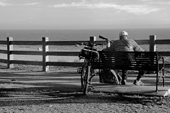 the soloist (Diane Trimble --- dianemariet) Tags: blackandwhite musician beach bike bicycle bench guitar santamonica guitarplayer afternoonlight thesoloist
