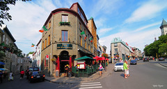 Quebec City, Canada (Vip Nigam) Tags: ca sky irish holiday canada building architecture bar clouds corner french fun pub alley crossing quebeccity popular vaction