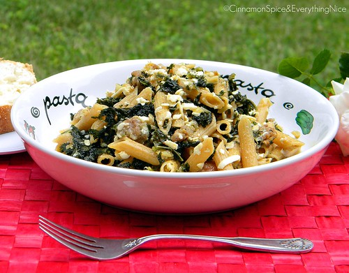 Hot Italian Sausage and Kale Ragu with Penne