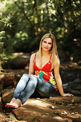 If I could come here once a week, I'd live to the 100s, she said (AnnuskA  - AnnA Theodora) Tags: park red portrait woman plants feet nature girl lady creek forest river outdoors photography arthur woods rocks arms bokeh thomas blouse jeans blond portraiture londrina worldphotographyday august19th barefootinnature