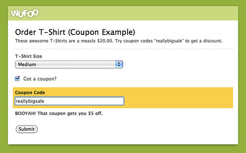 Example Coupon System on Wufoo Form