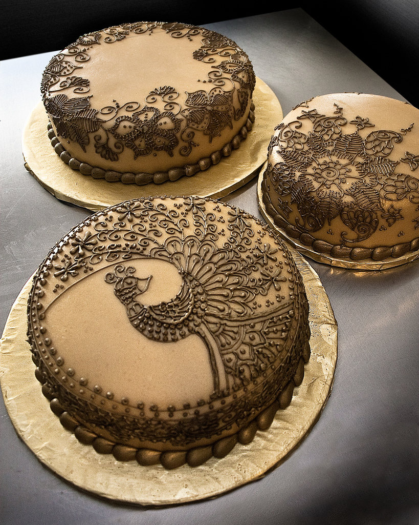 Henna-style peacock cake trio from Rora Does Cake