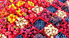 Constructed Chaos (azurechina) Tags: camera travel food canada art fruit geotagged photography photo healthy nikon berries image market quebec montreal picture megan delicious grapes boxes raspberries blueberries caplan nikonp90 azurechina megancaplan