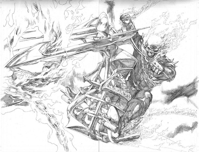 Ultimate Ghost Rider pencils by Leinil Yu from Ultimate Avengers 2, 2010 from Schulman ComicArtFans