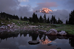 Clearing Fog, Spray Park, Mount Rainier National Park (Tyler Westcott) Tags: sunset reflection water fog clouds landscape volcano washington nationalpark august explore shore mountrainier wildflower tarn alpenglow 2010 spraypark nikond90