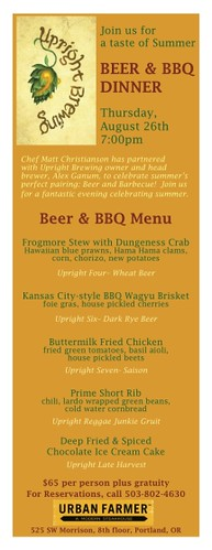Upright Beer Dinner