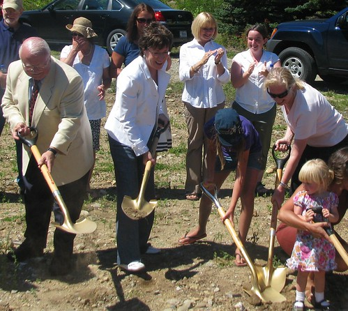 From Left to Right with Shovels: Swan's Island Educational Society President of Board of Directors Ken Dutille; United States Senator Susan M. Collins; Swan's Island resident Ashley Tapley; USDA Rural Development State Director Virginia Manuel; and resident Morgan Matthews.