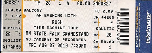 08/27/10 Rush @ MN State Fair (Ticket)