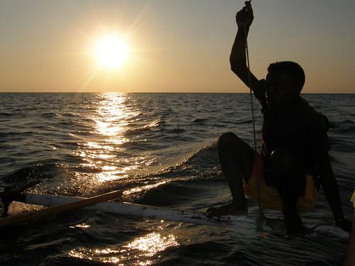 Puesta de sol en el Canal de Mozambique