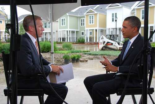 Brian Williams and President Obama in the Gentilly Neighborhood of New Orleans