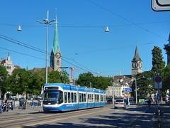 Zürich (sander_sloots) Tags: zürich switzerland tram streetcar cobra zwitserland kerken churches lampposts spanwire spandraad lantaarnpalen straatlantaarn