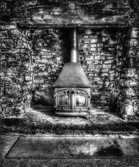 Hearth (James Rye) Tags: hearth bricks woodburner monchrome bw black white nero bianco noir blanc james rye jamesrye iphone7plus rug