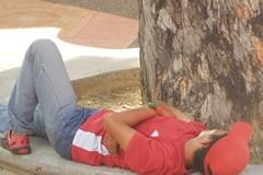 Asleep in Cap (mikecogh) Tags: malacca dutchsquare asleep public nap bench treetrunk cap melaka